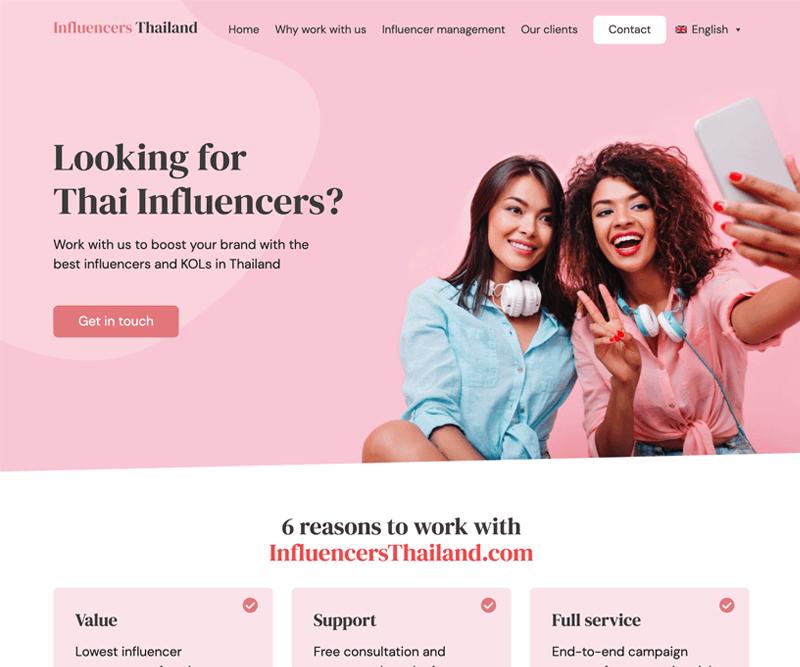 Influencers Thailand website design and development