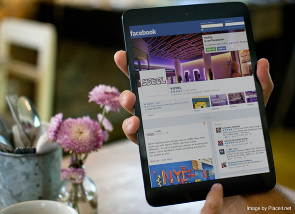 Yotel Facebook page on tablet